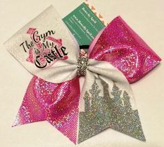 Bows by April - The Gym is My Castle Pink Holo and Silver Glitter Castle Cheer Bow, $17.00 (http://www.bowsbyapril.com/the-gym-is-my-castle-pink-holo-and-silver-glitter-castle-cheer-bow/)