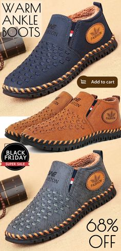 02ad5c290c72  68%off Men Hand Stitching Woven Style Warm Plush Lining Casual Ankle Boots