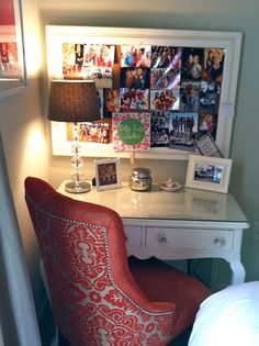 other pinner saiid:Decorating My College Apartment Space: Bedroom Edition | Dormify..I like the desk and use of small space and unique chair