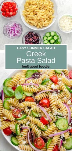Greek Pasta Salad is a light, fresh and easy summer salad full of sweet tomatoes, crisp cucumbers, olives and feta cheese all tossed in a homemade dressing! Potluck Recipes, Potluck Food, Vegetarian Recipes, Dinner Recipes, Easy Summer Salads, Easy Salads, Healthy Popsicle Recipes, Healthy Recipes, Yummy Recipes