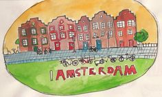 Amsterdam street view illustration from our trip Amsterdam, Street View, Illustrations, Books, Libros, Illustration, Book, Book Illustrations, Libri