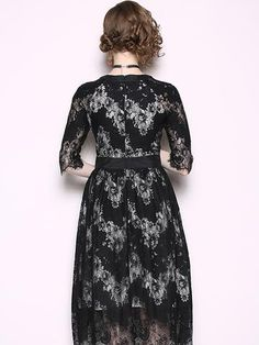 Black Lace O-Neck Half Sleeve A-Line Dress Women's Fashion Dresses, Casual Dresses, Bodycon Dress With Sleeves, Floral Print Maxi Dress, Bodycon Dress Parties, Half Sleeves, Flare Dress, Lace, Ladies Fashion Dresses