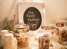 Our family favorites...maybe even provide recipes for guests to take home.  Have members of your family make their famous cookie recipe and bring to the wedding!!