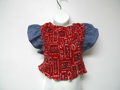 70s red white and blue floral print butterfly sleeves by june22