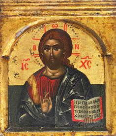 Detailed view: Z045. Christ Pantocrator- exhibited at the Temple Gallery, specialists in Russian icons