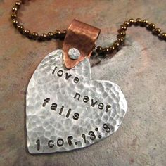 Heart Necklace Mixed Metal Hand Stamped by FiredUpLadiesHammer, $27.00