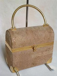 Vintage Lisette NY Cork & Gold Tone Purse