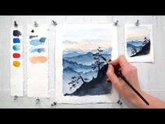 Blue Ridge Mountains. Easy step by step watercolor tutorial (updated) - YouTube