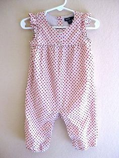 BABY-GAP-RED-DOT-ROMPER-1PC-OUTFIT-SIZE-6-12-MONTHS-INFANT-BABY-GIRLS-BUBBLE-EUC