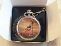 "Thomas Kinkade ""The Light of Freedom"" Pocketwatch American Flag Over NYC - NIB"