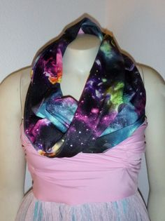 Etsy. grav3yardgirl on YouTube got me interested in galaxy print stuff. Since I don't do leggings, I figured a scarf was the perfect way to wear the trend. I do it with dark jeans and a black shirt.