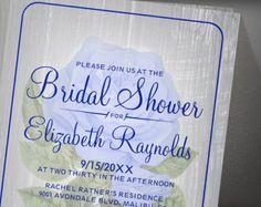 Navy Blue Rustic Floral Bridal Shower Invitation