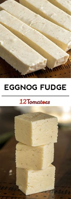 Eggnog Fudge:● 12 oz. white chocolate chips● 1 (7 oz.) jar marshmallow creme● 1 3/4cups sugar● 3/4c eggnog ● 1 stick unsalted butter.● 2 tsp vanilla● 1/2tsp nutmeg.Line a square baking dish with foil, spray w/Pam.Combine butter, sugar & eggnog in a large saucepan and bring to a boil.Stirring frequently, bring mixture to 234º F, then remove from heat and stir in chocolate.stir in marshmallow creme, vanilla extract and nutmeg until fully incorporated, then transfer mixture to greased baking di
