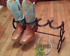 Horseshoe Boot Rack by DaddysGarageDesigns on Etsy