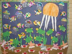 Ocean mural... much simpler for preschool at home... using the mural as a place to display completed crafts. crab, octopus, jellyfish, turtle, lobster, fish, etc.