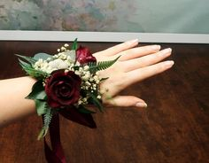 Burgundy roses wrist corsage, Woodland boho wedding mother real flowers and greenery eucalyptus, woodsy realistic natural floral decoration Prom Flowers, Winter Wedding Flowers, Bride Flowers, Real Flowers, Floral Wedding, Boho Wedding, Wedding Ideas, Mother Of Bride Corsage, Wrist Corsage Wedding