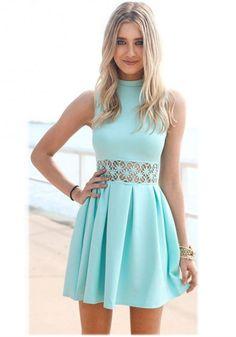 O Neck Lace Waist Tank Dress www.maxfancy.com