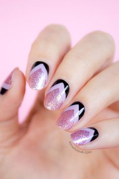 Pink Glitter Nails With Reverse Chevron Details