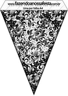 Bandeirinha Varalzinho Arabesco Preto e Branco:
