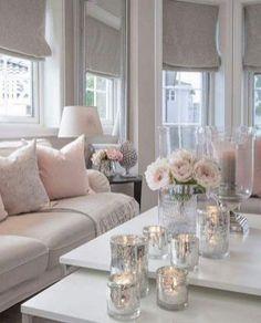 37 Cute Pink Living Room Design Ideas - Modul Home Design Silver Living Room, Living Room White, White Rooms, Cozy Living Rooms, Apartment Living, Living Room Furniture, Silver Room, Modern Furniture, Apartment Chic