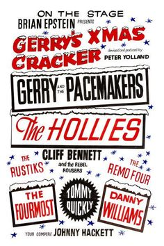 Gerry And The Pacemakers Xmas Cracker Concert Poster 1964 Rock Posters, Band Posters, Concert Posters, Music Posters, Beatles Poster, The Beatles, Gerry And The Pacemakers, Rockabilly Music, John Lennon Paul Mccartney