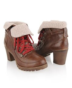 Faux Shearling Workman Boots - StyleSays