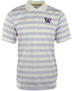 Be sure to grab the Nike NCAA Preseason polo shirt, featuring Dri-FIT technology and professional golf styling. With contrast stripes and a raised Washington Huskies logo at the chest, you might get mistaken for an assistant coach. Polo collar Pullover style