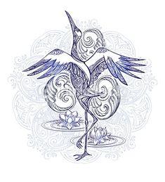 Crane tattoo with lotus on background mandala.