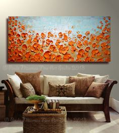 ORIGINAL Large Abstract Brown Blue Red Poppies Impasto by Artcoast, $330.00