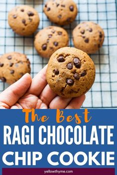 Finger Millet or Ragi Chocolate Chip Cookies - Healthy Millet Cookies without refined sugar or flour - ideal snacks for kids Choco Chip Cookies, Healthy Chocolate Chip Cookies, Choco Chips, Healthy Cookies, Chocolate Chocolate, Healthy Sugar, Healthy Cake, Healthy Snacks, Healthy Recipes
