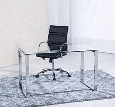 Mesa de estudio benetto XL , cristal transparente y cromado, medidas 120 cm x 60 x 75 de altura - http://vivahogar.net/oferta/mesa-de-estudio-benetto-xl-cristal-transparente-y-cromado-medidas-120-cm-x-60-x-75-de-altura/ -