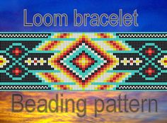 Native American ornament loom pattern - Pattern for tribal beaded bracelet - DIY artisan jewellery