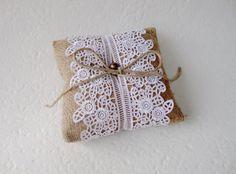 Ring Bearer Pillow Lace Burlap Pillow Rustic wedding by LeelaPurse, $25.00