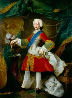 Prince Charles Edward Stuart  by Louis Gabriel Blanchet  Date painted: 1738  Oil on canvas, 190.5 x 141 cm  Collection: National Portrait Gallery, London  Bonnie Prince Charlie or the Young Pretender, was the grandson of James II, who was deposed in 1688. In 1745 he landed in Scotland and led a rising of the Highland clans, in an attempt to regain the British throne.  He caused panic in London by reaching as far south as Derby before retreating.