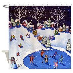 Winter Snow Sled Ice Skate Folk Art Shower Curtain   #christmasshowercurtainglam