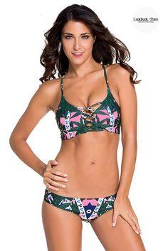 32477b1a64 Green Crisscross Tribal-Print Bikini Set