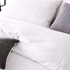 Gramercy Grid 1000TC Quilt Cover White