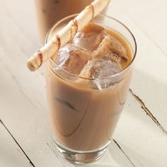 Iced coffee cocktail.Alcoholic cocktail with iced coffee and Jamaican rum.