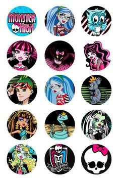 2 Monster High Bottlecap Image sheets