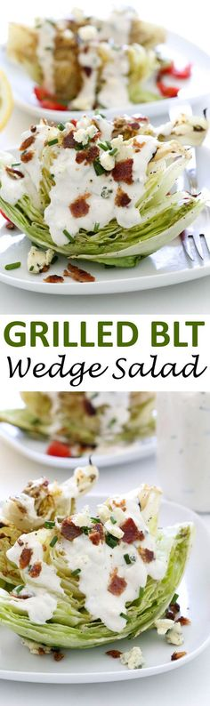 Grilled BLT Wedge Salad with Creamy Blue Cheese Dressing. Everything you love about a BLT sandwich in salad form! Takes less than 20 minutes to throw together!