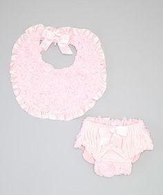 Look at this #zulilyfind! Pink Velour Rosette Bib & Diaper Cover - Infant #zulilyfinds