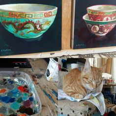 My studio cat is ever present while I paint. Here I was painting Chinese bowls while he took a snooze. Chinese Bowls, Painting Process, Serving Bowls, Presents, Studio, Cats, Tableware, Idea Paint, Gifts