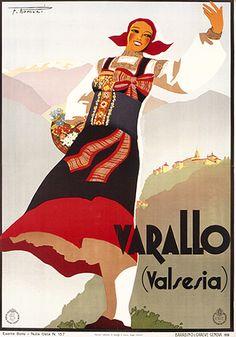 1936 Varallo, Valsesia, Italy vintage travel poster