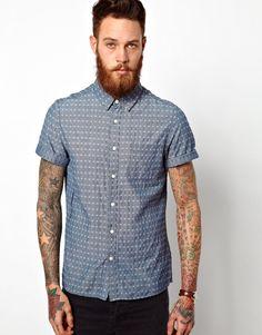 ASOS+Dobby+Chambray+Shirt+In+Short+Sleeve