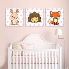 Παιδικοί πίνακες σε καμβά Forest Animals - Ζώα του Δάσους (Ροζ) Cribs, Toddler Bed, Furniture, Home Decor, Cots, Child Bed, Decoration Home, Bassinet, Room Decor