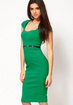 Green Plain Belt Square Neck Midi Dress