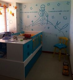 ahhh this room! the le petit prince wall decal + star mobile! White Nursery, Nursery Room, Baby Room, Prince Nursery, Having A Baby Boy, The Little Prince, Baby Boy Nurseries, Baby Decor, Decoration
