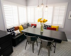 Inspired By: Honeycomb Hexagons - floor pattern. Love the colors in this room.
