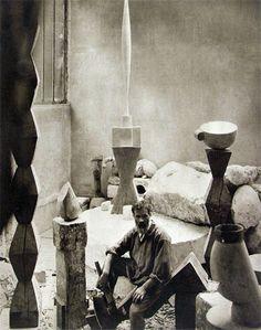 Edward Steichen, Constantin Brancusi in his Studio, Paris, 1925 Fine Art, Artist Inspiration, Edward Steichen, Artist Studio, Famous Artists, Artist, Constantin Brancusi, Art History, Space Art