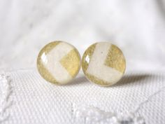 Gold and White Chevron studs  only available in 8mm by ModIceCream, $10.00